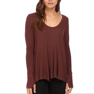 Free People Malibu Brown Waffle Henley Shirt top